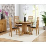 Dorchester 120cm Solid Oak Round Extending Dining Table with Monaco Chairs