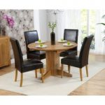 Dorchester 120cm Solid Oak Round Extending Dining Table with Rustique Chairs