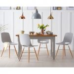 Eton 120cm Grey Solid Pine and Ash Table with Nordic Wooden Leg Grey Chairs
