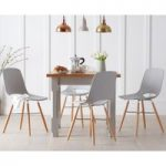 Eton 90cm Grey Solid Pine and Ash Table with Nordic Wooden Leg Grey Chairs