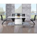 Hailey 160cm White High Gloss Extending Dining Table with Black Hampstead Z Chairs