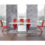 Hailey 160cm White High Gloss Extending Dining Table with Red Hampstead Z Chairs