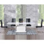 Hailey 160cm White High Gloss Extending Dining Table with Malaga Chairs