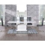 Hailey 160cm White High Gloss Extending Dining Table with Grey Malaga Chairs
