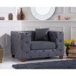 Harrison Chesterfield Grey Leather Armchair