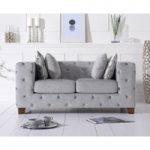 Harrison Chesterfield Grey Plush Fabric Two-Seater Sofa