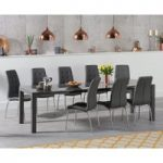 Jacobi Extending Dark Grey High Gloss Table with Calgary Chairs
