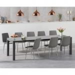 Jacobi Extending Dark Grey High Gloss Table with Hamburg Fabric Chrome Leg Chairs