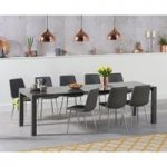 Jacobi Extending Dark Grey High Gloss Table with Hamburg Faux Leather Chrome Leg Chairs