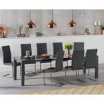 Jacobi Extending Dark Grey High Gloss Table with Malaga Chairs