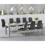 Jacobi Extending Light Grey High Gloss Table with Calgary Chairs