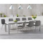 Jacobi Extending Light Grey High Gloss Table with Hamburg Fabric Chrome Leg Chairs