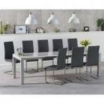 Jacobi Extending Light Grey High Gloss Table with Malaga Chairs