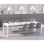 Jacobi Extending White High Gloss Table with Hamburg Fabric Chrome Leg Chairs