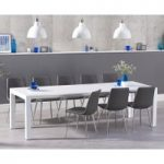 Jacobi Extending White High Gloss Table with Hamburg Faux Leather Chrome Leg Chairs