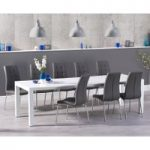 Jacobi Extending White High Gloss Table with Calgary Chairs