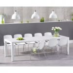 Jacobi Extending White High Gloss Table with Nordic Chrome Leg Chairs
