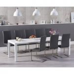 Jacobi Extending White High Gloss Table with Malaga Chairs