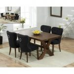 Bordeaux 165cm Dark Oak All Sides Extending Table with Knightsbridge Fabric Dark Oak Leg Chairs