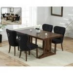 Cavendish 165cm Dark Oak All Sides Extending Table with Knightsbridge Fabric Dark Oak Leg Chairs