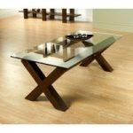 Lyon Walnut Glass Coffee Table