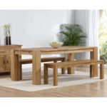 Madrid 200cm Solid Oak Dining Table with Benches