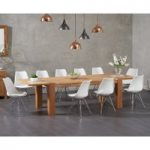 Madrid 200cm Oak Extending Dining Table with Calvin Chrome Leg Chairs