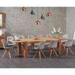 Madrid 200cm Oak Extending Dining Table with Ophelia Fabric Round Leg Chairs