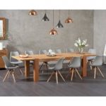 Madrid 200cm Oak Extending Dining Table with Ophelia Fabric Square Leg Chairs