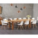 Madrid 200cm Oak Extending Dining Table with Demi Faux Leather Chairs