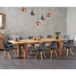 Madrid 200cm Oak Dining Table with Ophelia Faux Leather Square Leg Chairs