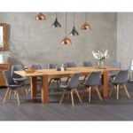 Madrid 200cm Oak Extending Dining Table with Demi Fabric Chairs