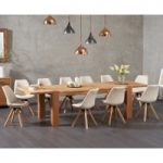 Madrid 200cm Oak Extending Dining Table with Ophelia Faux Leather Round Leg Chairs