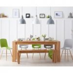 Madrid 200cm Solid Oak Dining Table with Nordic Wooden Leg Chairs and bench