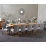 Madrid 240cm Solid Oak Extending Dining Table with Cora Fabric Chairs