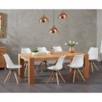 Madrid 200cm Oak Dining Table with Ophelia Faux Leather Round Leg Chairs