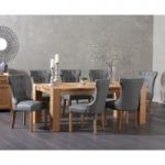 Madrid 240cm Solid Oak Dining Table with Cora Grey Faux Leather Chairs