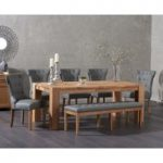 Madrid 200cm Solid Oak Table with Cora Grey Faux Leather Chairs and Cora Grey Faux Leather Bench