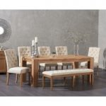 Madrid 200cm Solid Oak Dining Table with Candice Fabric Chairs and Cora Cream Bench