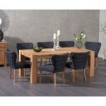 Madrid 200cm Solid Oak Dining Table with Imogen Black Fabric Chairs