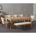 Madrid 200cm Solid Oak Dining Table with Imogen Fabric Chairs and Cora Cream Bench