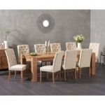 Madrid 240cm Solid Oak Extending Dining Table with Candice Fabric Chairs
