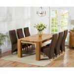 Madrid 240cm Solid Oak Dining Table with Henley Fabric Chairs