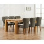 Madrid 300cm Solid Oak Dining Table with Knightsbridge Fabric Chairs