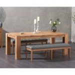 Madrid 200cm Solid Oak Dining Table with Cora Grey Faux Leather Benches
