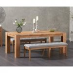 Madrid 200cm Solid Oak Dining Table with Cora Grey Fabric Benches