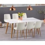 Maida Vale 180cm Matt White Dining Table with Hamburg Faux Leather Wooden Leg Chairs