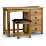 Marlborough Oak Single Pedestal Dressing Table and Leather Stool