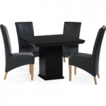 Napoli 100cm Black Square Marble Dining Table with Cannes Chairs