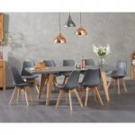 Nicole Extending Grey Dining Table with Demi Faux Leather Chairs